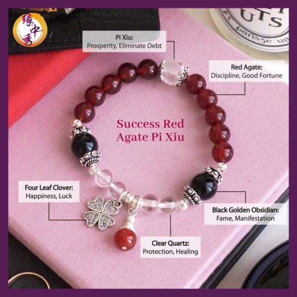 2. (ENG) Success Red Agate Pi Xiu Bracelet - Yuan Zhong Siu