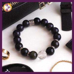 1. Yuan Zhong Siu Glory Blue Sandstone Pi Xiu Bracelet