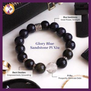 2. (ENG) Glory Blue Sandstone Pi Xiu Bracelet -Yuan Zhong Siu