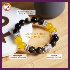 2. (ENG) Graceful Yellow Agate Phoenix Bracelet - Yuan Zhong Siu