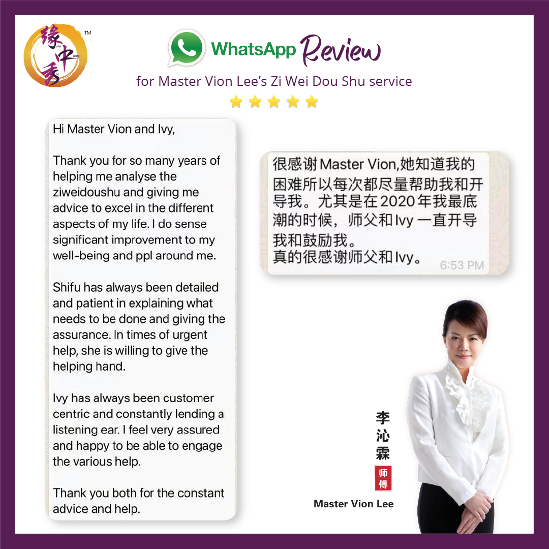 Review Zi Wei Dou Shu Astrology Service by Master Vion Lee